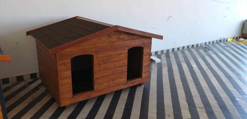 140X100 hőszigetelt dupla kutyaház fordított amerikai tetős teak
