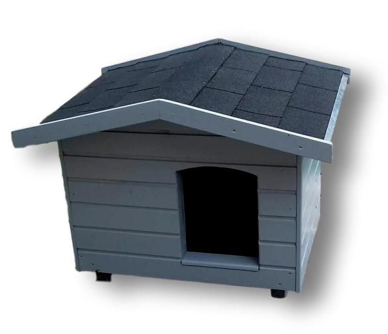 70X80 kutyaház amerikai tetős szürke