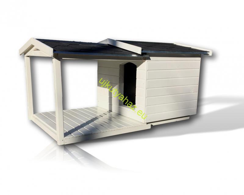 80X100 amerikai tetős hőszigetelt kutyaház teraszos fehér