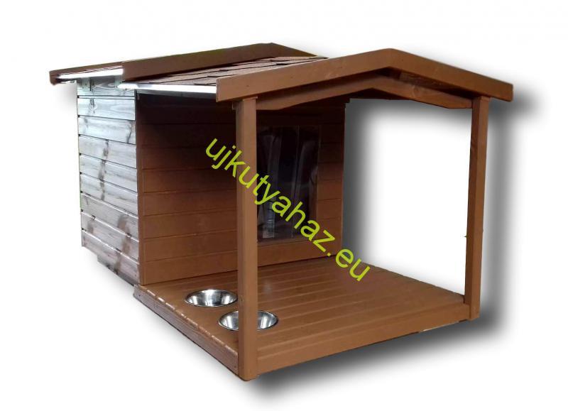 80X100 fordított amerikai tetős hőszigetelt kutyaház teraszos dióbarna