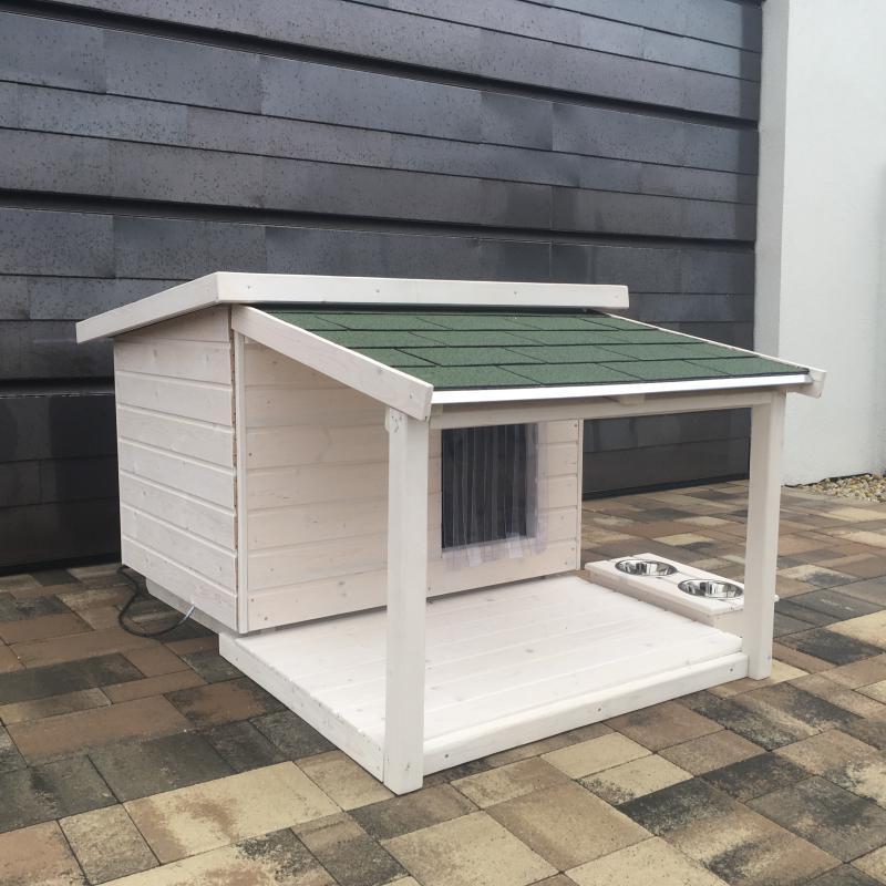 80X100 hőszigetelt kutyaház teraszos fehér