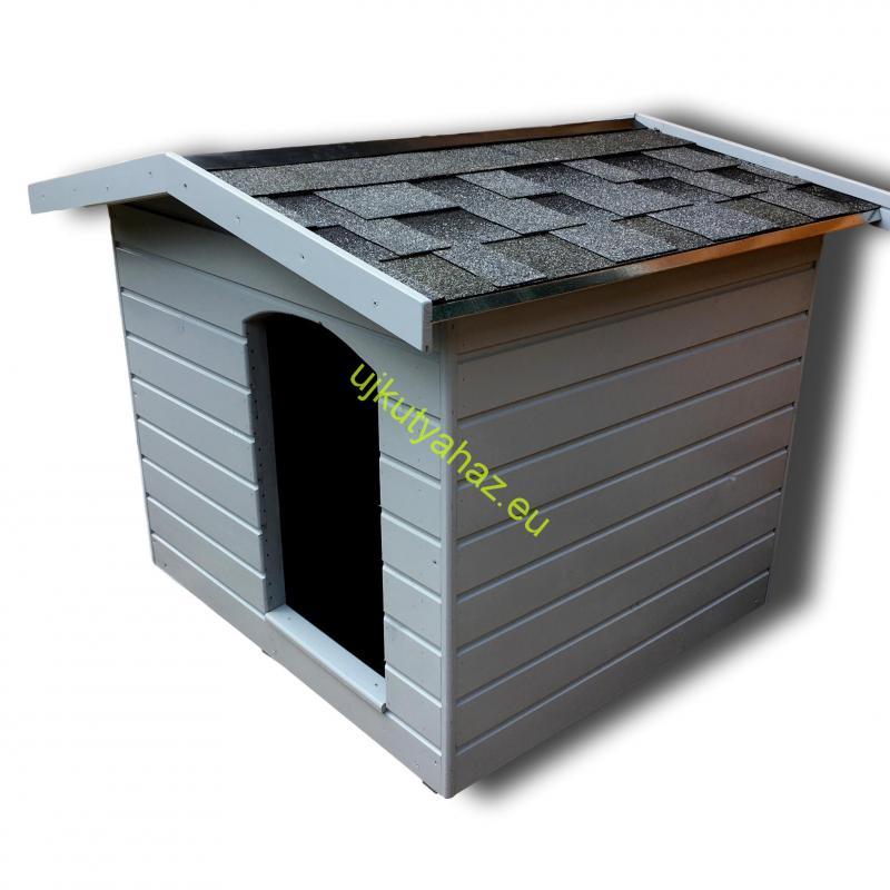 90X100 hőszigetelt kutyaház fordított amerikai tetős szürke