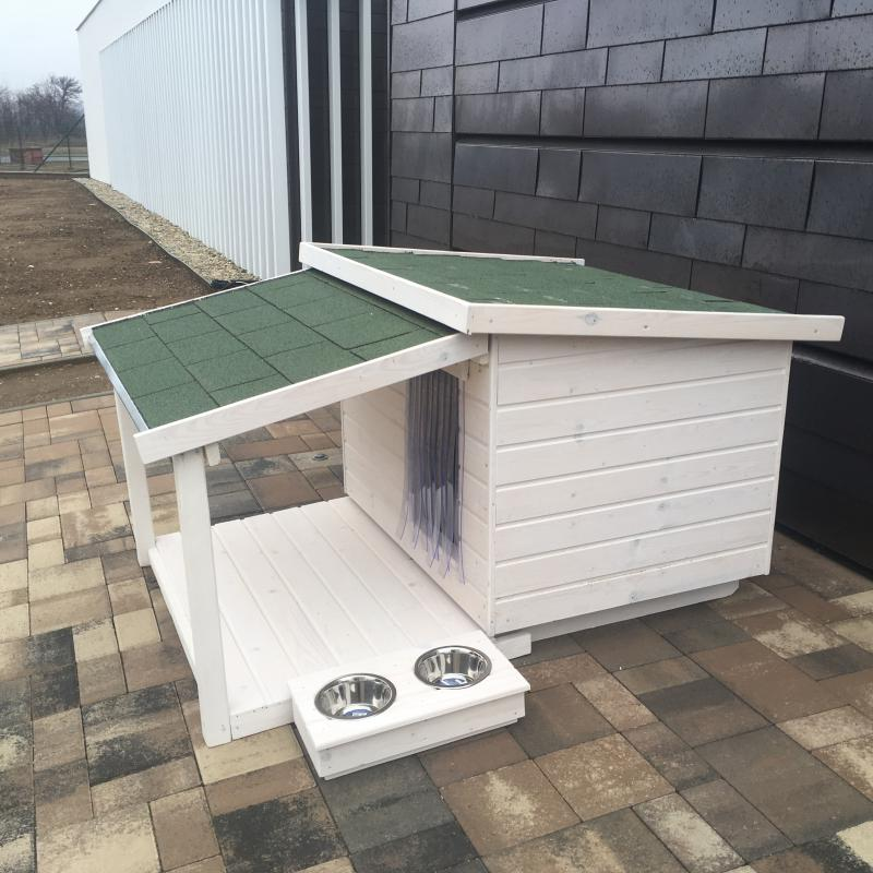 90X100 hőszigetelt kutyaház teraszos fehér