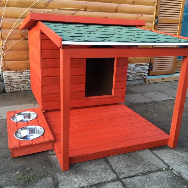 90X100 hőszigetelt kutyaház teraszos mahagóni