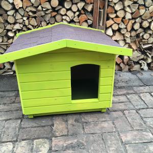 70X90 hőszigetelt kutyaház fordított amerikai tetős neon zöld