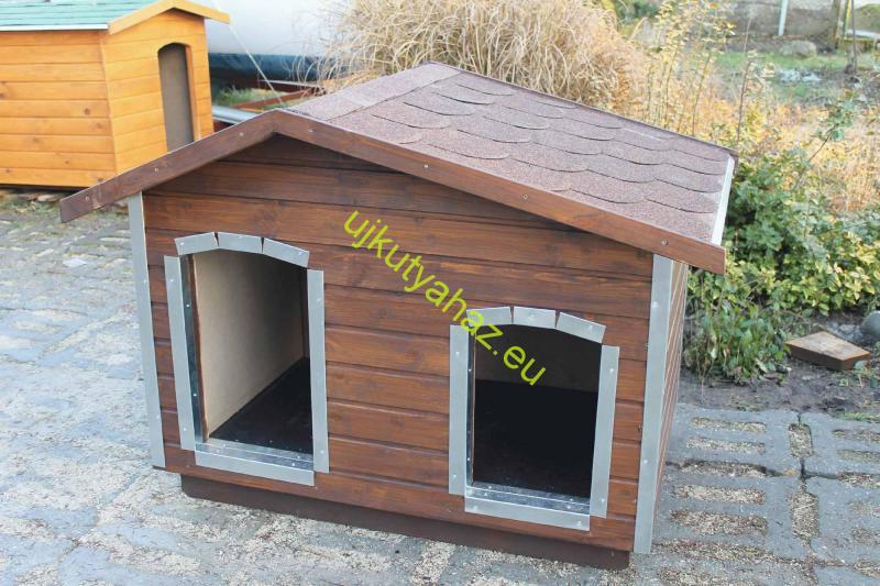 Fűthető 140X100 hőszigetelt dupla kutyaház fordított amerikai tetős