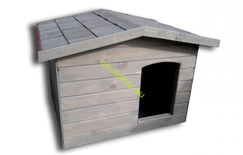 Fűthető 70X90 hőszigetelt kutyaház fordított amerikai tetős szürke
