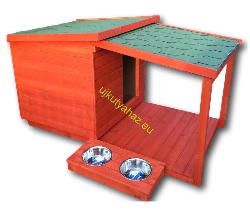 Fűthető 80X100 hőszigetelt kutyaház teraszos mahagóni