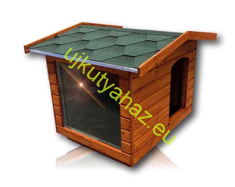 Fűthető panoráma 80X100 hőszigetelt kutyaház fordított amerikai tetős teak