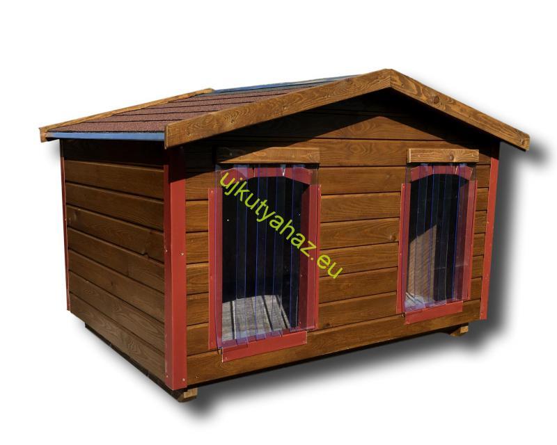 Okos fűthető 140X100 hőszigetelt dupla kutyaház fordított amerikai tetős
