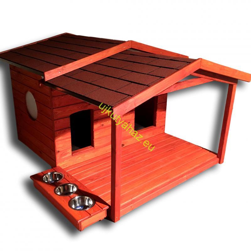 Okos fűthető 140X100 hőszigetelt dupla kutyaház, körablakkal, teraszos
