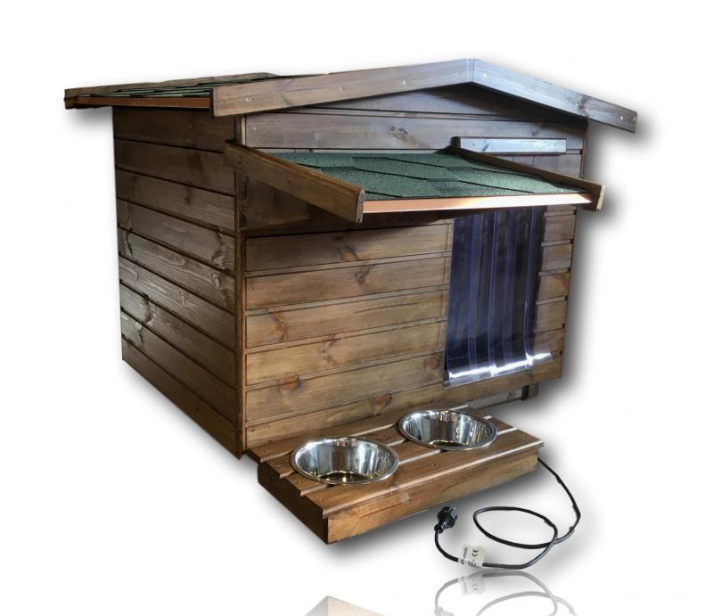 Okos fűthető 90X100 hőszigetelt kutyaház fordított amerikai tetős rusztikus dió