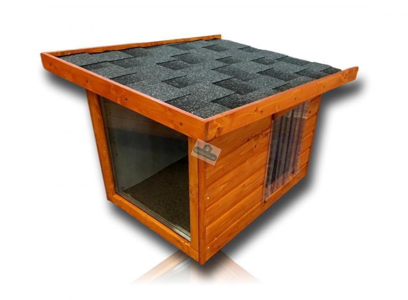 Okos fűthető panoráma féltetős kutyaház 60x80
