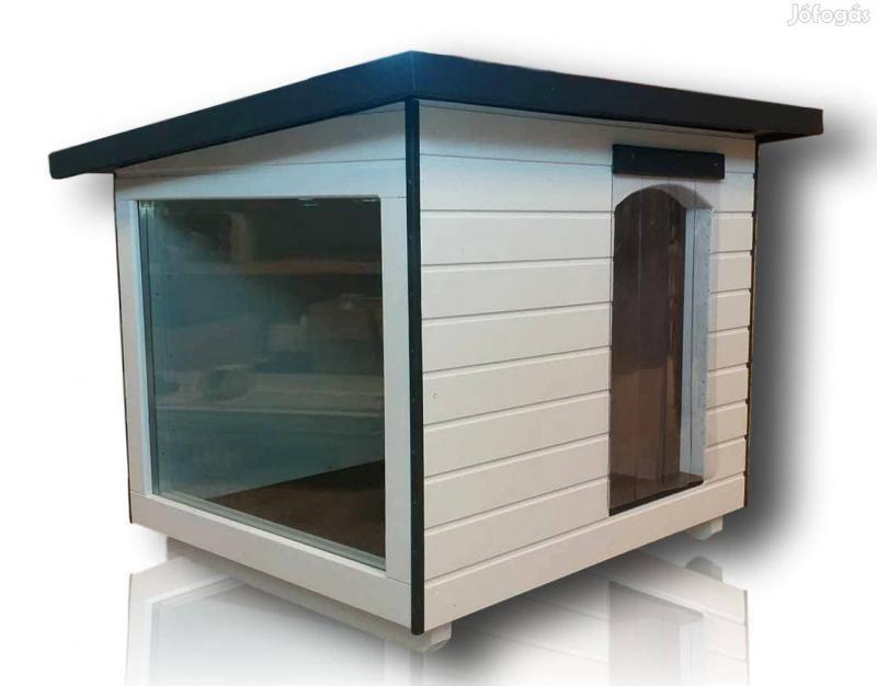 Panoráma 100X110 Extra hőszigetelt kutyaház lapos tetős fehér