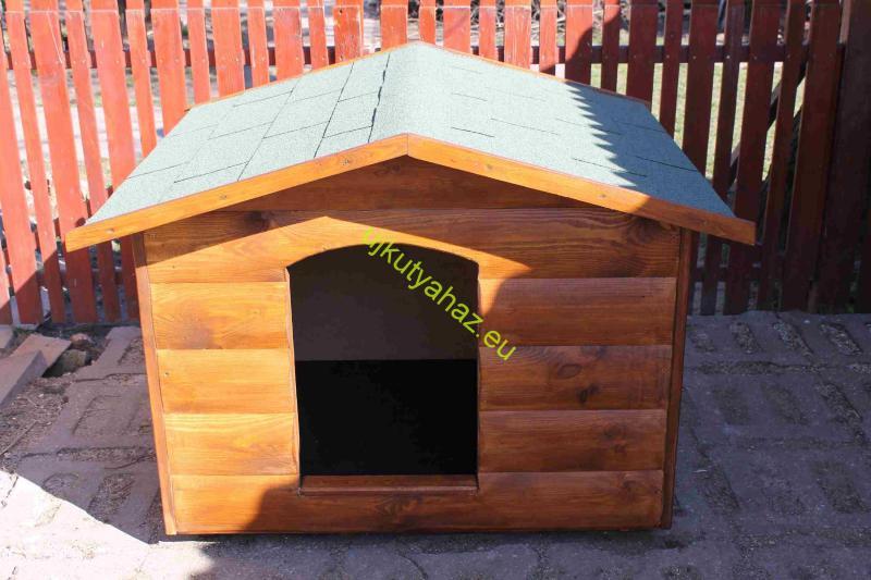Rönkhatású 90X100 hőszigetelt, fordított amerikai tetős kutyaház