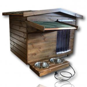 Fűthető 90X100 hőszigetelt kutyaház fordított amerikai tetős rusztikus dió