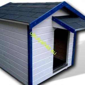 Kék-fehér 100X110 hőszigetelt kutyaház amerikai tetős