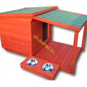 Okos fűthető 80X100 hőszigetelt kutyaház teraszos mahagóni