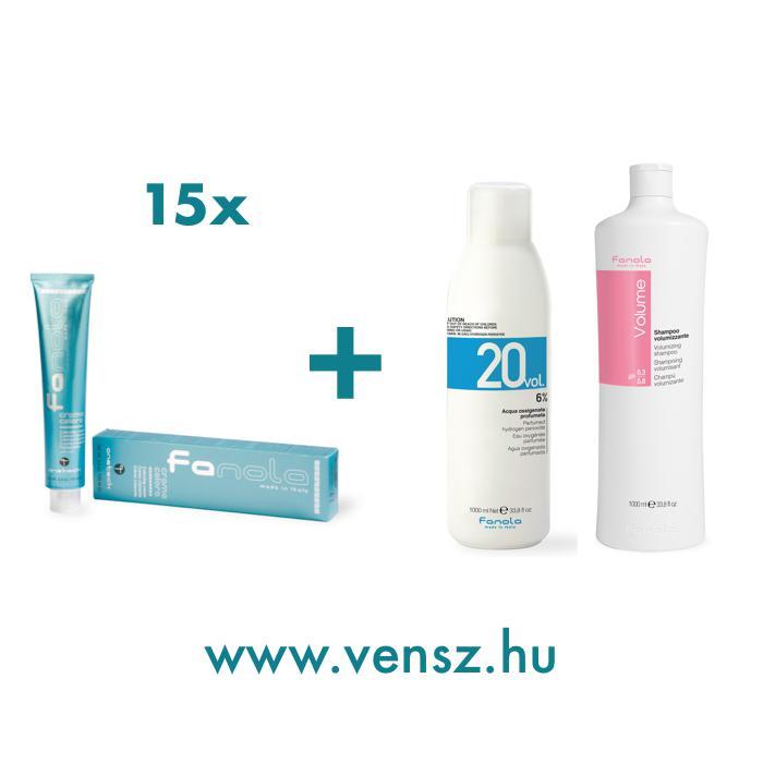 #1 Fanola Color hajfesték akció (15 festék = Fanola 6% + Volumennövelő sampon 1000ml)