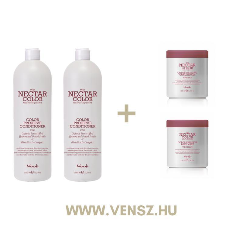 #4 Nook Nectar Color Preserve kondicionáló 1000ml 2db + Nektar Color kondicionáló 250ml vékony és vastag hajra 1-1db