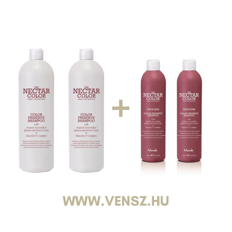#4 Nook Nectar Color Preserve sampon 1000ml 2db + Nektar Color sampon 300ml vékony és vastag hajra 1-1db
