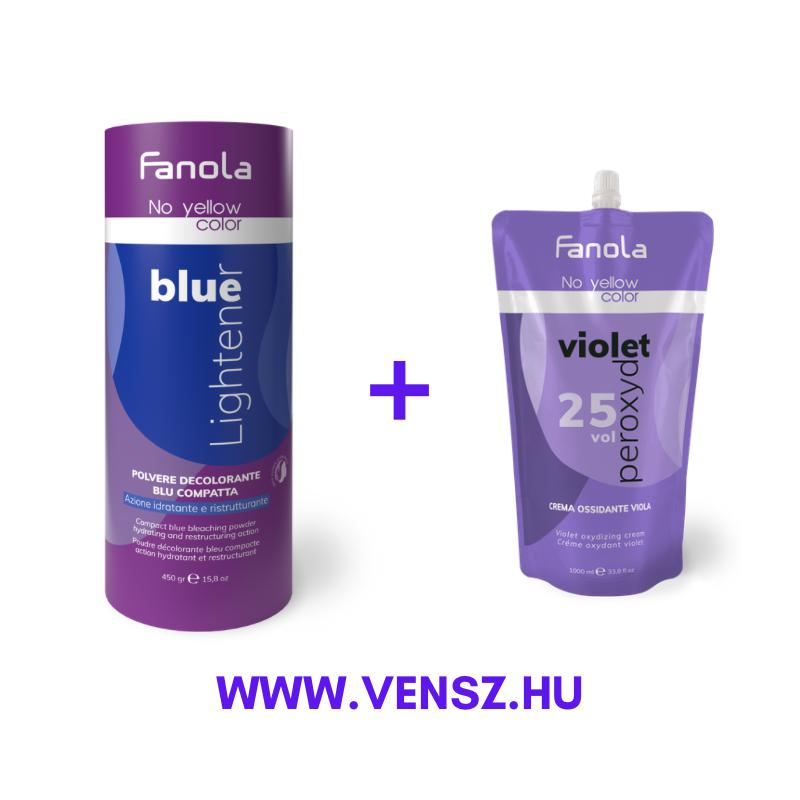 #5 Fanola No Yellow szőkítőpor Blue - Kék 450g + No Yellow oxidáló Lila 7,5% 1000ml