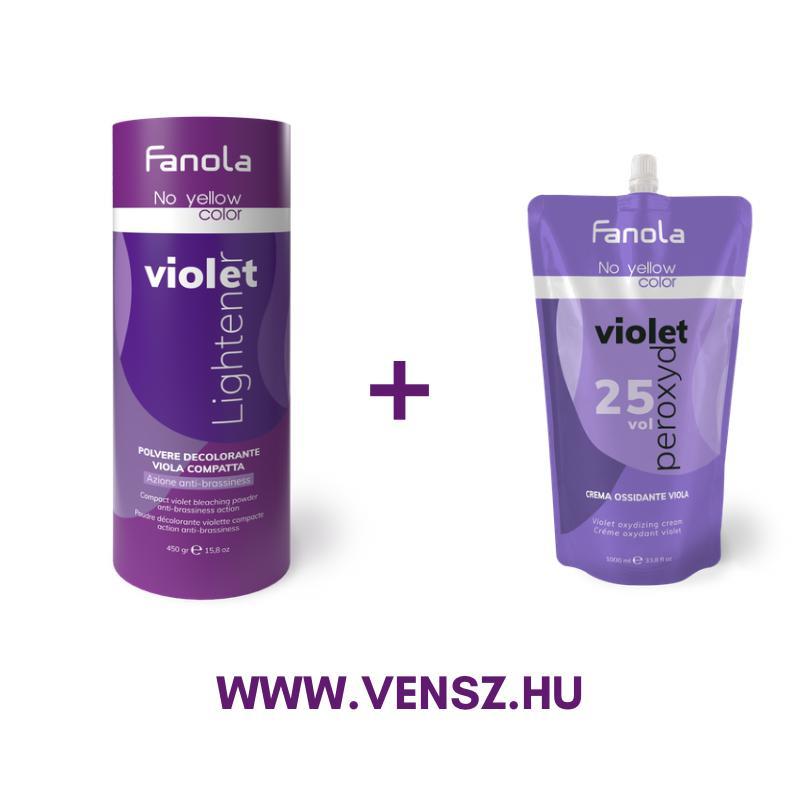 #5 Fanola No Yellow szőkítőpor Violet-Lila 450g + No Yellow oxidáló Lila 7,5% 1000ml