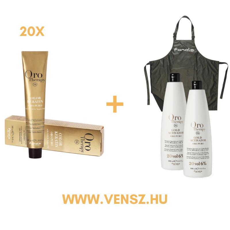 #5 Fanola Oro Therapy hajfesték akció (20 festék = 2db Oro 6% oxidáló  + Hajvágókendő)