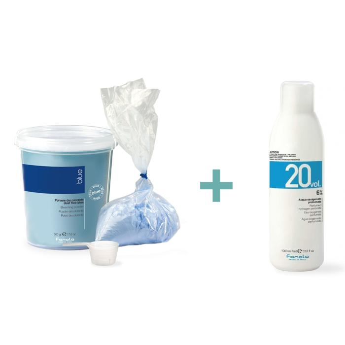 #7 Fanola Szőkítőpor kék 500gr + ajándék Fanola 6%-os krémhidrogén