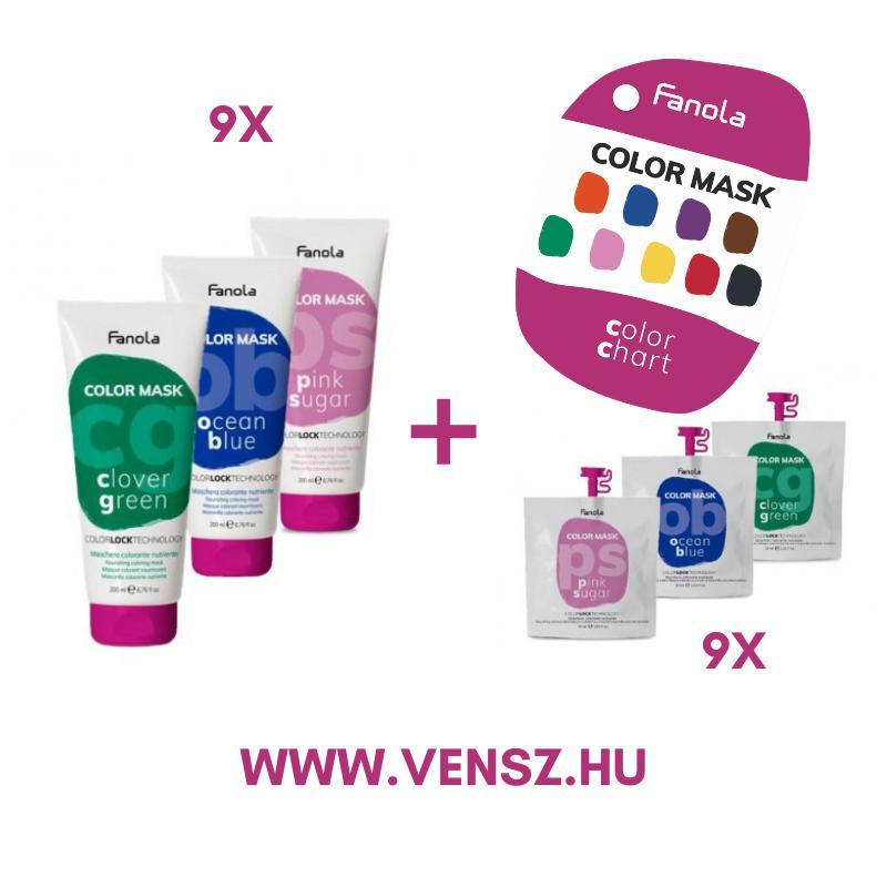 #9 Fanola Color Színező maszk 200ml 9x1db + Fanola Color Színező maszk 30ml 9x1db + Fanola Color maszk színskála