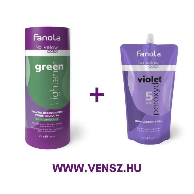 #9 Fanola No Yellow szőkítőpor Green-Zöld 450g + No Yellow oxidáló Lila 1,5% 1000ml