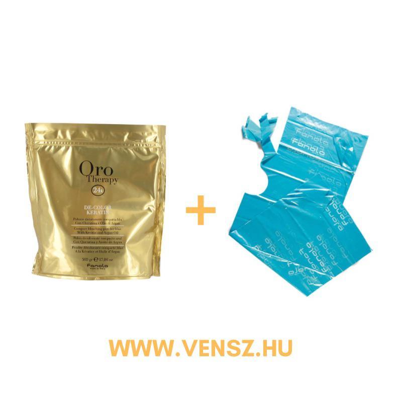 #9 Fanola Oro Puro szőkítőpor (500g) 1db + ajándék Eldobható festőkendő kék 30db