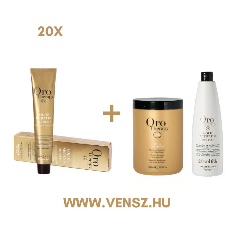#9 Fanola Oro Therapy hajfesték akció (20 festék) = Oro oxi 6% 1 db + Oro maszk 1000ml 1 db
