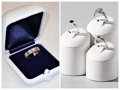 AKCIÓ! Gemini fehér bőr gyűrűs díszdoboz csomag, gyűrűtartó installációval
