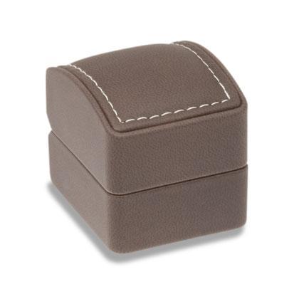 Soft Touch Gyűrűs varrott bőr díszdoboz barna