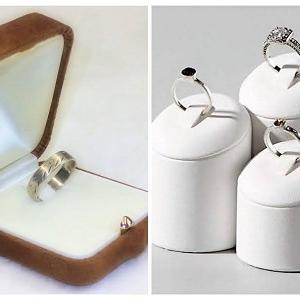 AKCIÓ! Gemini velúr őzbarna gyűrűs díszdoboz csomag, gyűrűtartó installációval