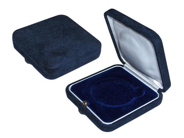Velúr borítású 80*80*27mm éremdoboz, kék