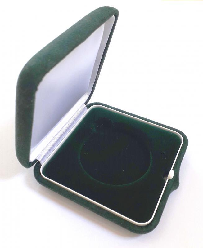 Velúr borítású 80*80*27mm éremdoboz, Zöld