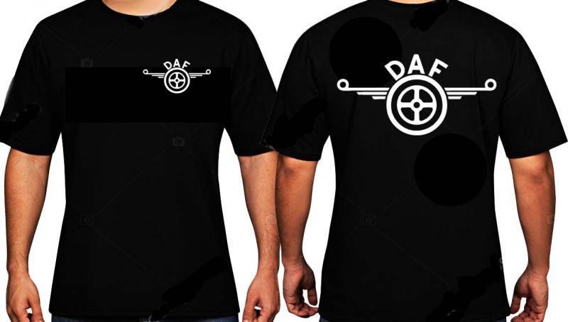 DAF póló, két oldalon egy színű logóval