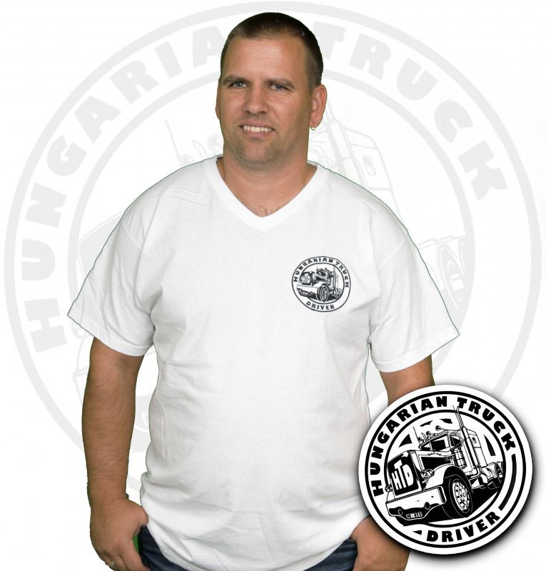 HTD V nyakú póló, férfi (fehér)