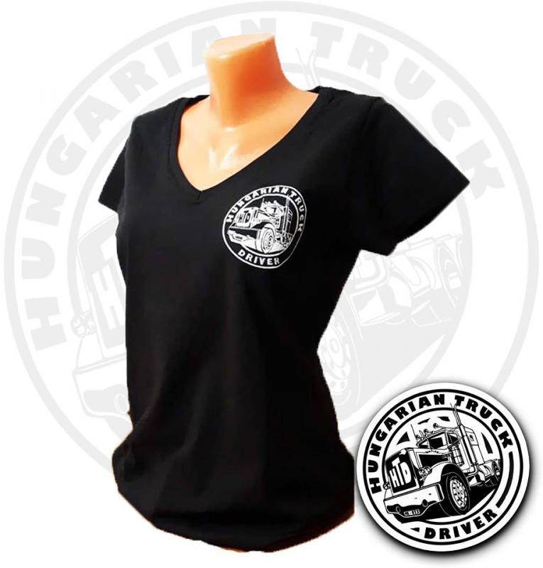 HTD V nyakú póló, női (fekete)