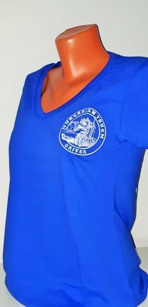 HTD V nyakú póló, női (kék)