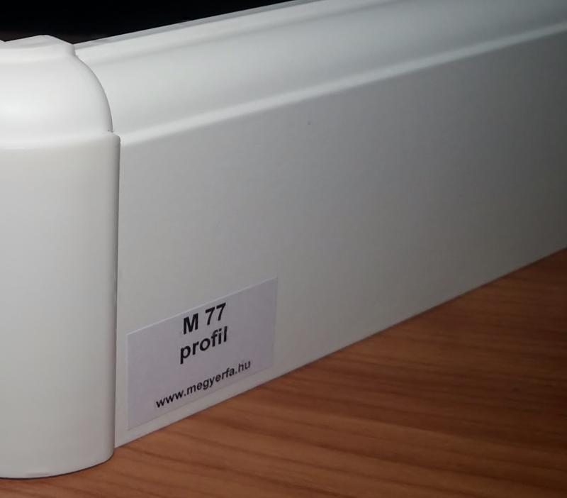75 mm magas fehér MDF padló szegélyléc M77 profil