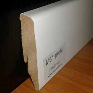 58 mm magas fehér MDF padló szegélyléc M61 profil