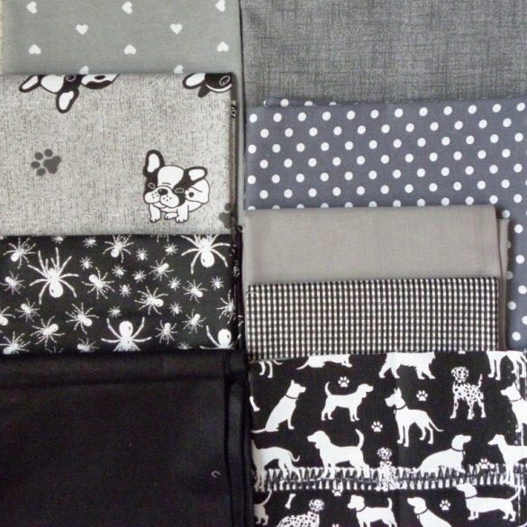 Maradék szürke-fekete mintás pamutvászon és lakástextil anyag csomag