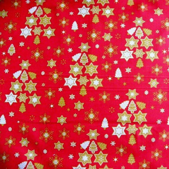 STAR TREE karácsonyi pamut-poliészter vászon anyag - piros, zöld, ecrü