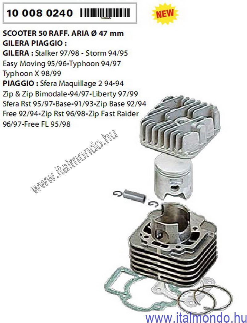 hengerkit PIAGGIO-GILERA 50 levegős D=47 RMS RMS