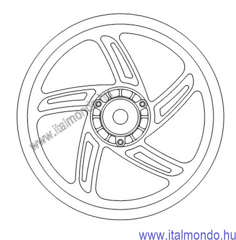 kerék hátsó ATLANTIC 125-200-250 2003-08 ezüst GRIMECA