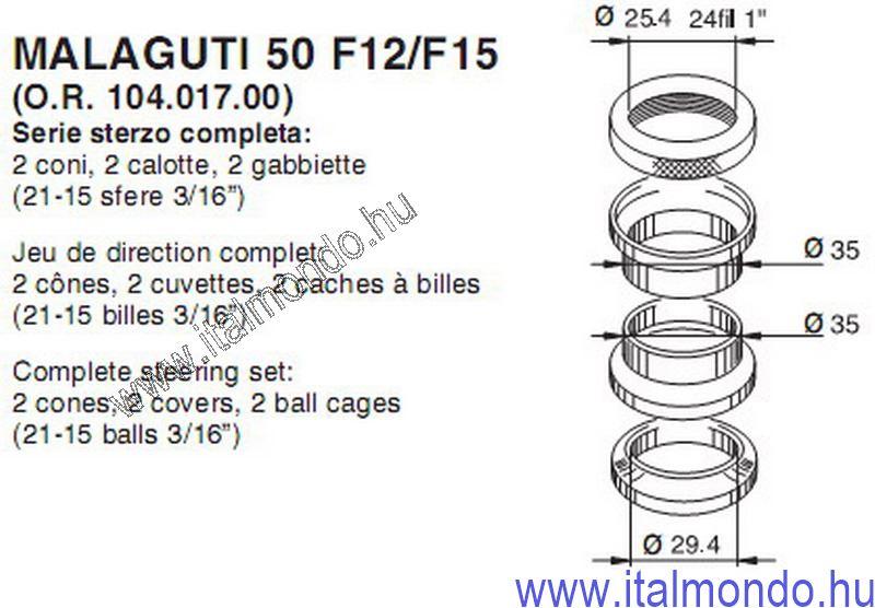 kormánycsapágy F12-F15-CROSSER ex 3960 BUZZETTI