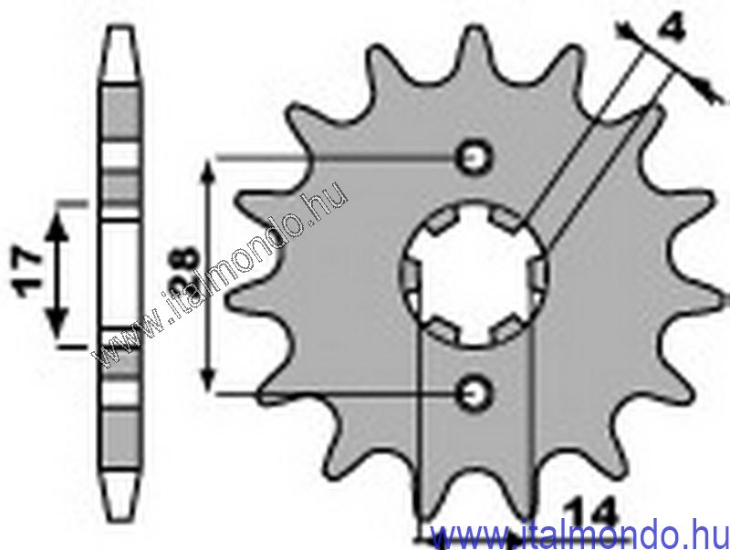 lánckerék első DERBI SENDA-GP1 2000- P.B.R.
